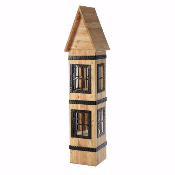 Bild von Deko Haus Weihnachten aus Lärchenholz - 160x40x40cm Massiv-Holz Weihnachtshaus