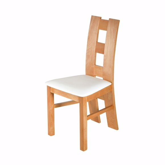 Picture of ROM white chair for dining table beech * solid wood * oiled * upholstery