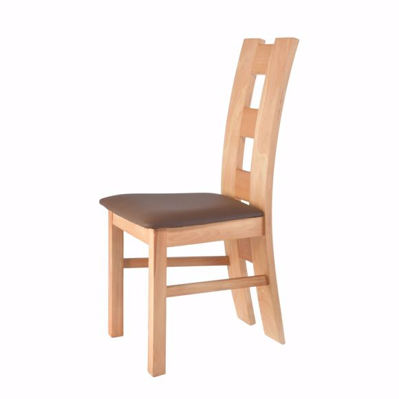 Picture of ROM brown chair for dining table beech * solid wood * oiled * upholstery*