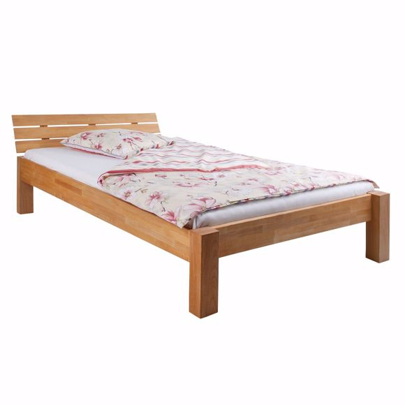 Picture of NOEMI rustic wooden bed made of solid beech 100x200cm