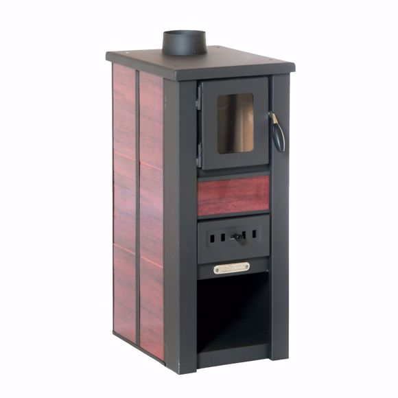 Picture of LAVA stove Ceramic red with window 35x44x82 cm 8 KW heat output