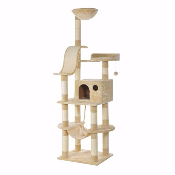 Obrazek Holiday Cat Tree with Sisal Scratchboard 176cm - wysoka stabilnosc bezowy