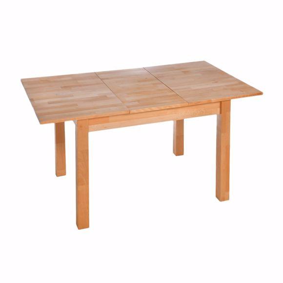 Image sur Table à manger en hêtre massif avec rallonge 108 x 86 cm