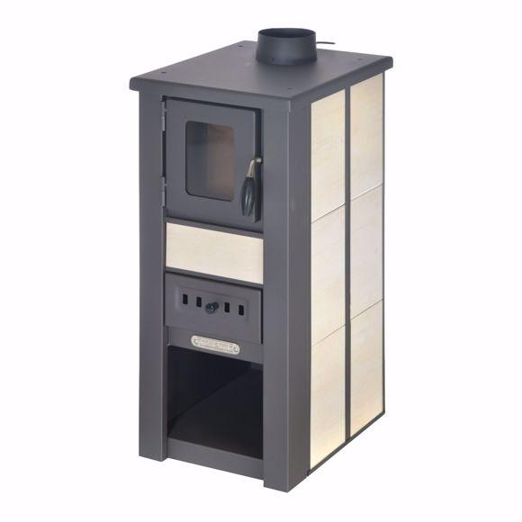 Picture of LAVA stove Ceramic cream with window 35x44x82 cm stove stove 8 KW