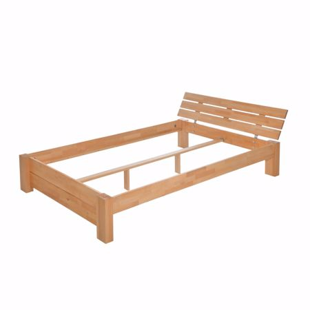 Picture of Diego solid wooden bed made of beech wood with bed box and rolling grate 140x200cm