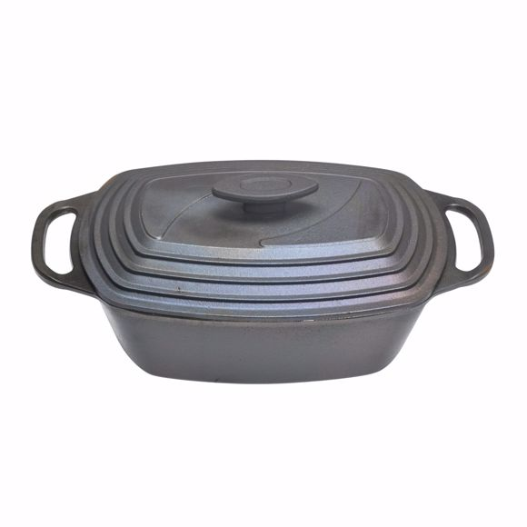Picture of Oval cooking pot made of cast iron with lid suitable for induction 43x22 cm