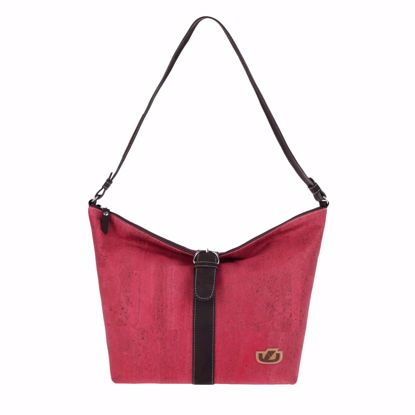 Picture of ASCOTT ladies handbag made of cork and leather, 44 x 31 x 10 cm strawberry