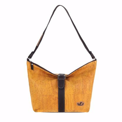 Picture of ASCOTT ladies handbag made of cork and leather, 44 x 31 x 10 cm mustard