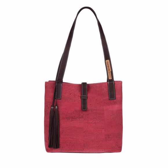 Picture of YVES shoulder bag for ladies made of cork 30 x 30 x 14 cm strawberry