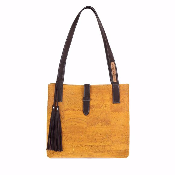 Picture of YVES shoulder bag for ladies made of cork 30 x 30 x 14 cm mustard
