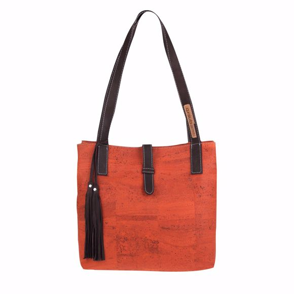 Picture of YVES Shoulder bag for ladies made of cork 30 x 30 x 14 cm Orange
