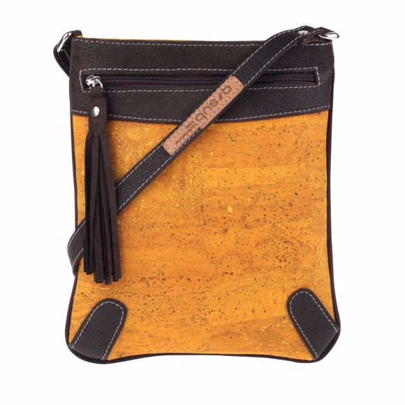 Picture of MONTERO shoulder bag made of cork and leather 23 x 27 x 2 cm mustard