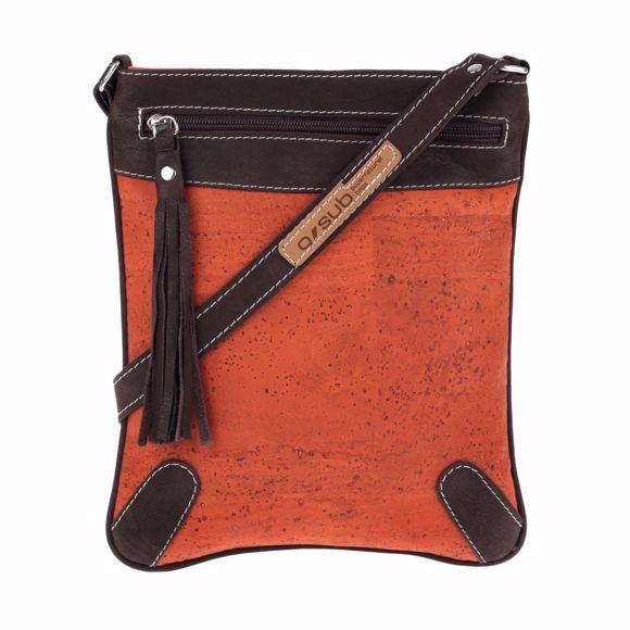 Obrazek Torba na ramie MONTERO wykonana z korka i skóry 23 x 27 x 2 cm Orange