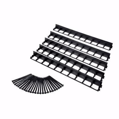 Immagine di 5 pezzi Bordo elastico del prato in plastica, nero, 100 cm