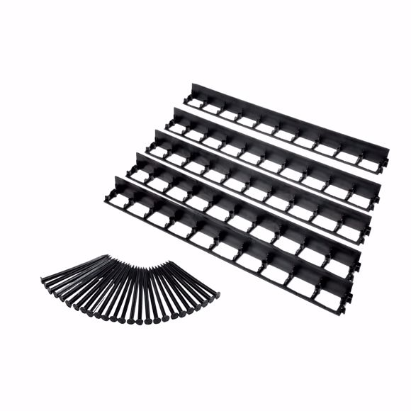 Picture of 5 pcs Elastic lawn edge made of plastic black 100 cm