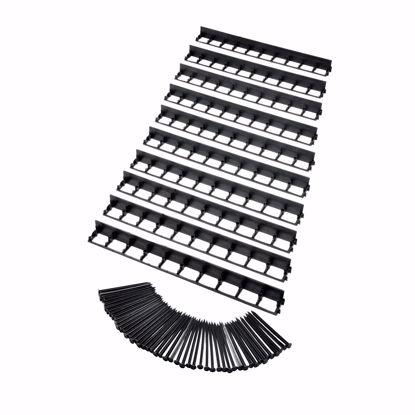 Picture of 10 pcs Elastic lawn edge made of plastic, black, 100 cm