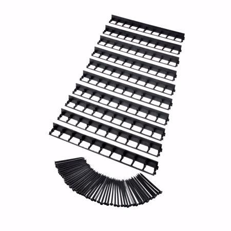 Immagine di 10 pz. Bordo di prato elastico in plastica, nero, 100 cm