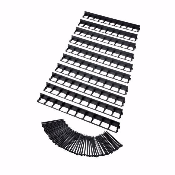 Picture of 10 pcs Elastic lawn edge made of plastic black 100 cm