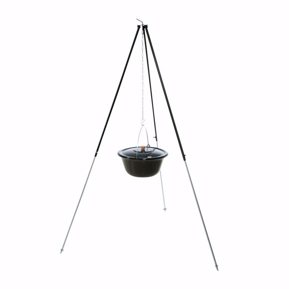 Picture of Hungarian tripod 1,80m with 22 l goulash kettle Glühwein enamel field kitchen