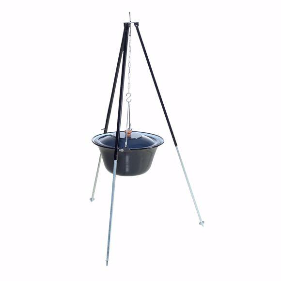 Bild von ungarisches Dreibein 1,20m mit 6 L Gulaschkessel emailliert Feldküche Glühwein