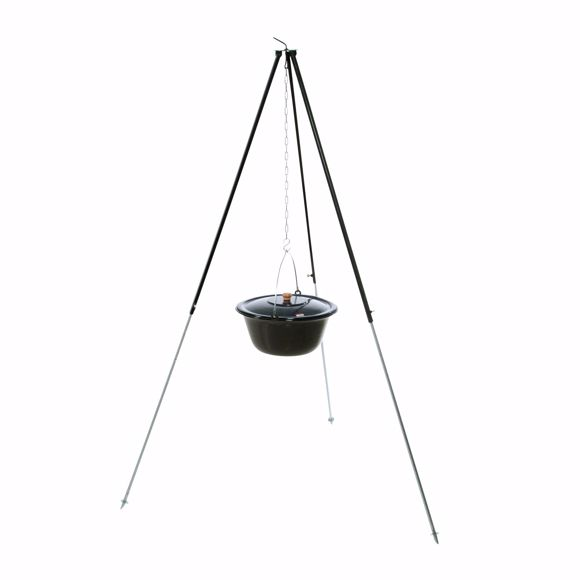 Picture of Hungarian tripod 1,80m with 6 l goulash kettle enamelled field kitchen mulled wine