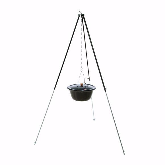 Bild von ungarisches Dreibein 1,80m mit 6 L Gulaschkessel emailliert Feldküche Glühwein