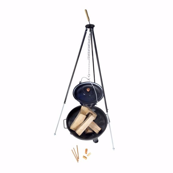 Picture of Hungarian goulash kettle (14 litres) + tripod frame (180cm) + fire bowl (80cm)