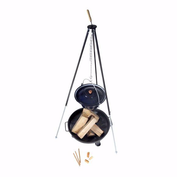 Image sur Bouilloire à goulasch hongroise (22 litres) + cadre trépied (180cm) + bol à feu (80cm)