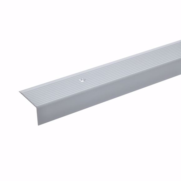 Picture of 20x40mm stair angle 100cm long silver drilled step edge profile aluminium
