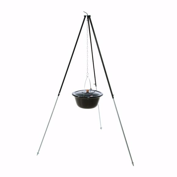 Picture of Hungarian tripod 1,80m 30 l goulash kettle field kitchen mulled wine kettle goulash