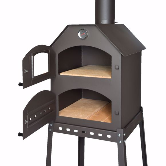 Image sur Four à pizza professionnel pour le jardin - 40x53x41 cm avec cadre