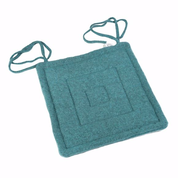 Picture of Seat cushion turquoise 40x40cm Greek sheep wool 100%