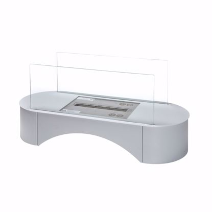 Picture of POMPEI Ethanol fireplace standing fireplace silver - 75x44x31,5cm * Incl. 1L Bio-Ethanol