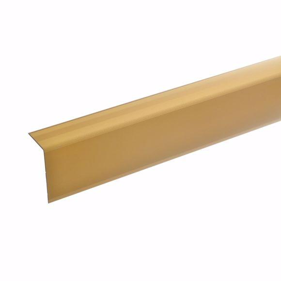 Image sur Profil d'angle d'escalier en aluminium - doré - 100cm 52x30mm auto-adhésif