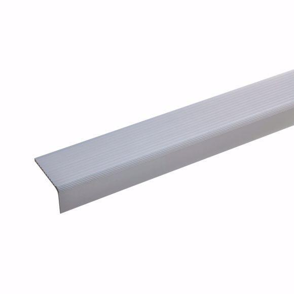 Immagine di Profilo angolare per scale in alluminio - argento - 100cm 23x40mm autoadesivo