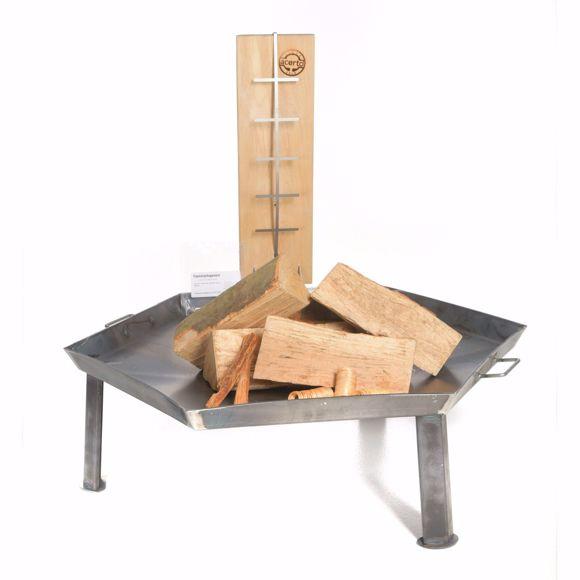 Bild von Feuerschale 55cm + 1 Flammlachsbrett + 5 Stk. Kaminholz Buche - Flammlachs