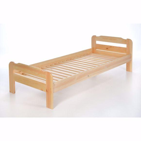 Bild von Einzelbett mit Lattenrost aus Kiefer massiv - 90x220 cm Massives Holz-Bett