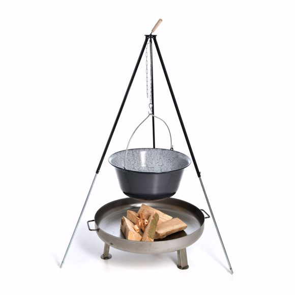 Picture of Hungarian goulash kettle (50 litres) + tripod frame (180cm) + fire bowl (80cm)