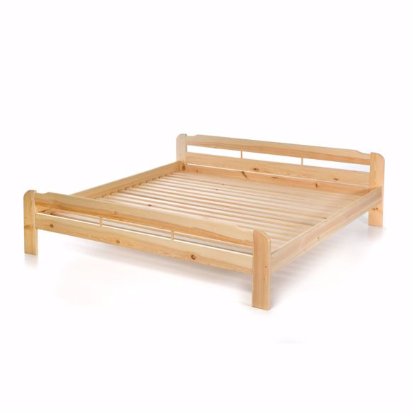 Picture of Double bed with solid pine slatted frame - 200x200 cm
