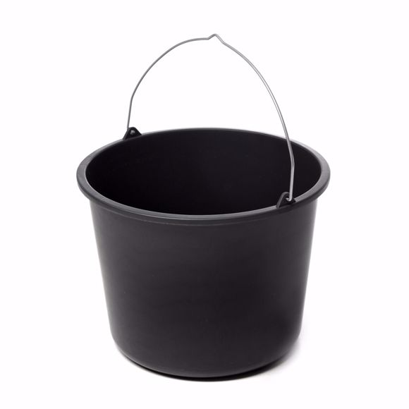 Picture of 2 pieces cleaning buckets, mortar buckets, construction buckets in black, 20 litres, plastic
