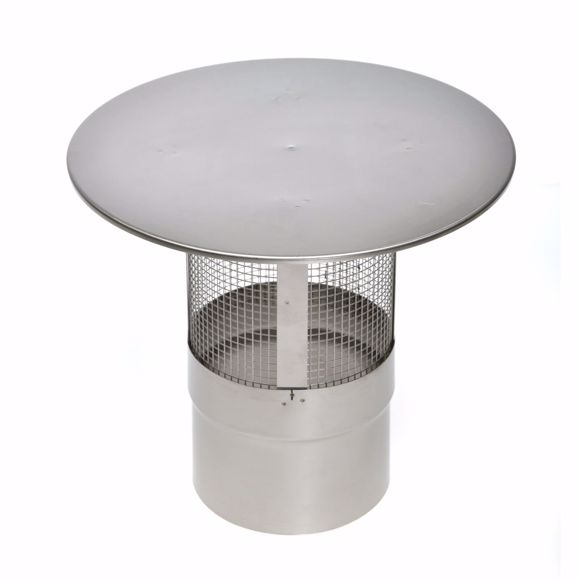 Picture of Stainless steel chimney cover 160mm with spark protection grille