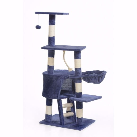 Picture of Lilly cat scratching tree for big cats 120cm - blue