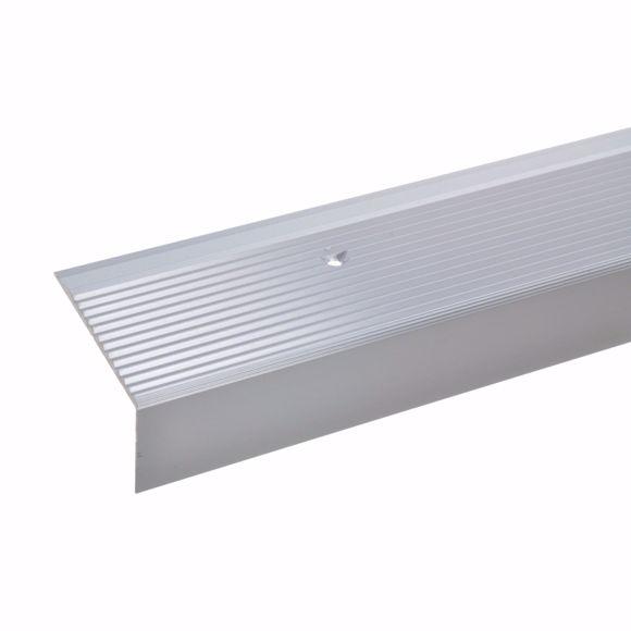 Image sur Equerre d'escalier 28x50mm 170cm argent percé, profilé de protection de chant en aluminium percé arg