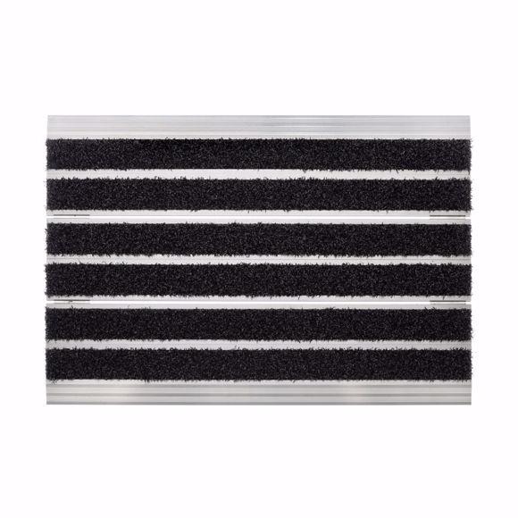 Image sur Paillasson en métal pour extérieur et intérieur - Paillasson aluminium avec brosse velours, 40x60 cm