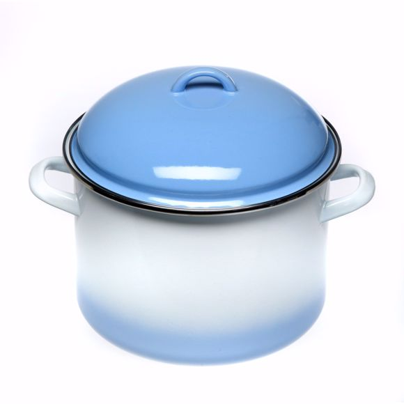 Picture of Enamelled pot with lid in a set for all types of stove & induction white/blue 4 litres
