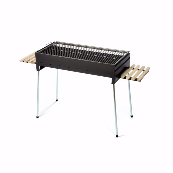 Picture of Charcoal grill large for gastronomy & clubs, 50x100 cm - outdoor grill with 2 shelves