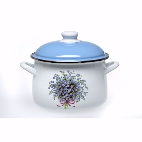 Picture of Enamelled pot with lid in a set for all types of stove & induction white/blue Flower 7.5 litres