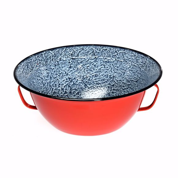 Picture of Enamelled country style bowl with handles - vintage country style bowl 26 cm