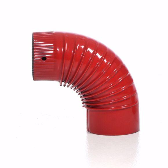 Picture of Ofenrohr Bogen emaille 120mm - 90° rot - Emailliertes Rauchrohr für Kaminöfen