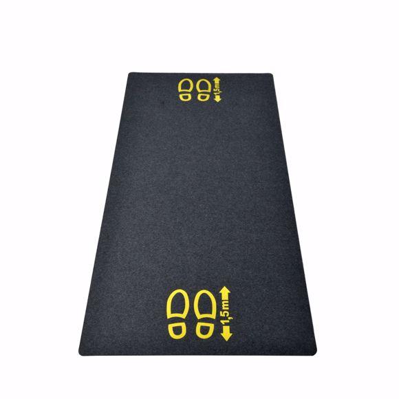 """Picture of Bodenschutzmatte mit gelbem Hinweis """"1,5m Abstand"""" aus Gummi"""